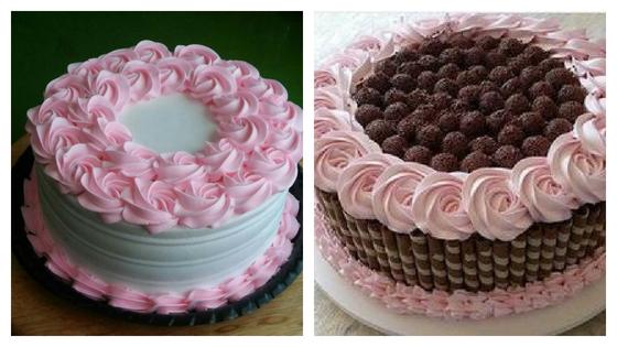 Bolo buquê rosa com doce de leite condensado de chocolate e chantilly
