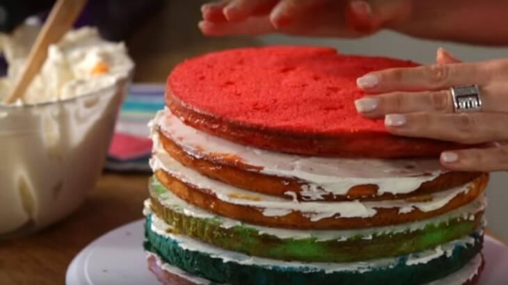 Rainbow Birthday Cake Last Layer - COMO FAZER UM BOLO DE ANIVERSARIO ARCO-ÍRIS